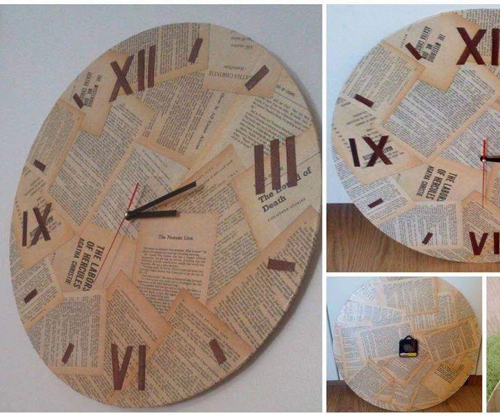 Vintage Book Cardboard Clock