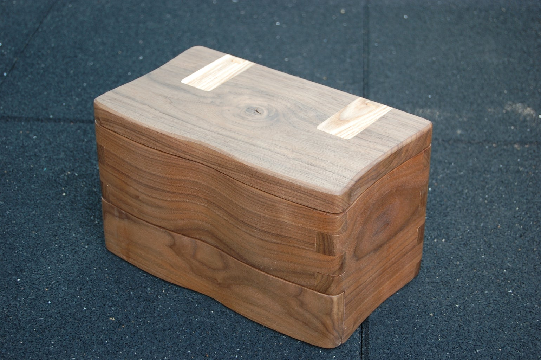 Finishing Walnut Box With Integral Hinge