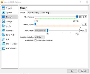 Configurating the VirtualMachine