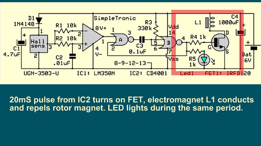 Output Mosfet Drives Electromagnet