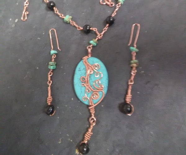 Wire Wrapped Pendant and Earrings
