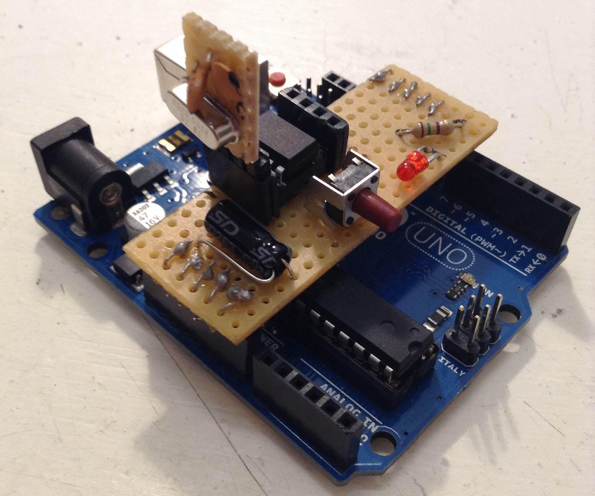 Arduino attiny85/45 ISP shield + debug help