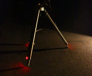 Red Safety Lights for Telescope Tripod Made From Scrap