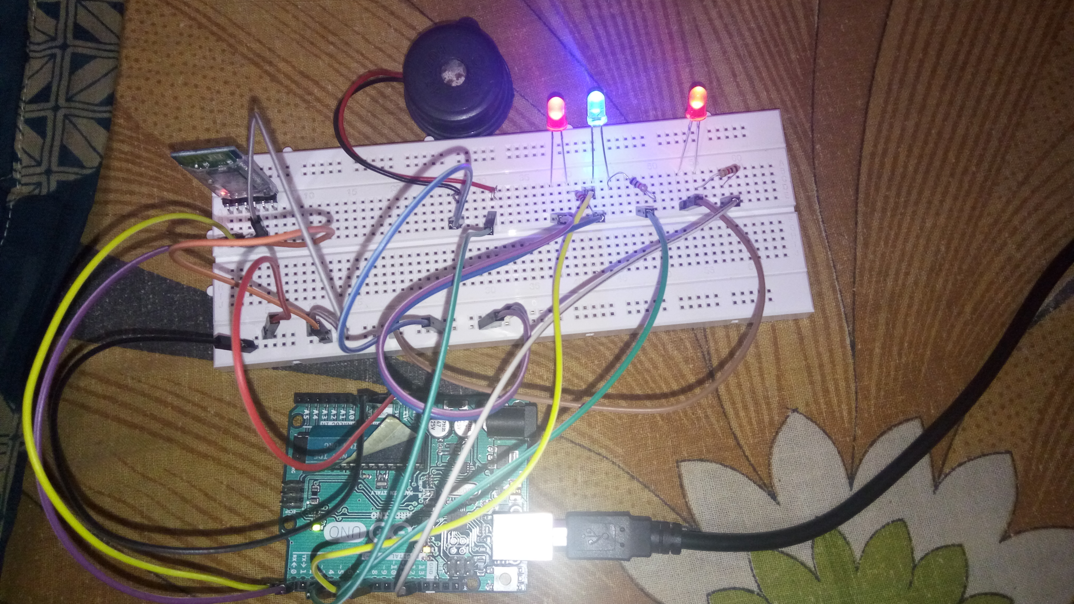 LED, Buzzer Control Using Bluetooth Module and Arduino