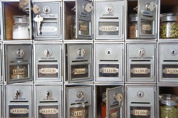 Repurposed PO BOX Spice Cabinet