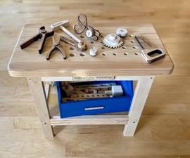 玩具工作台与许多木工具