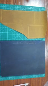 Draw Cutting Lines by Awl on Leather Use Acrylic Pattern.