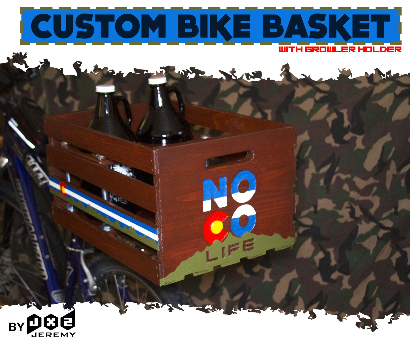 Customized Bike Basket With Removable Growler Holder