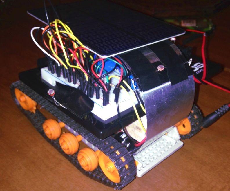 Solar powered flashlight controlled mini-tank robot!