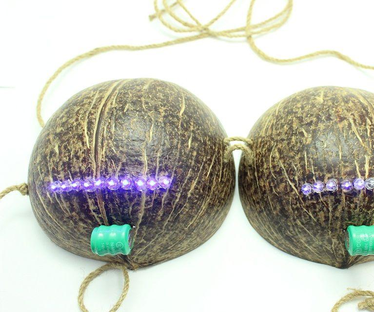 Make your own Coconut bikini bra with LEDs