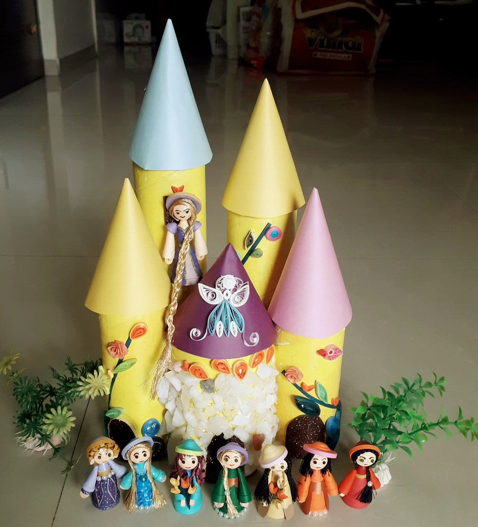 Quilling Rainbow Dolls and Castle