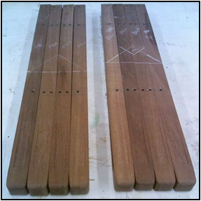 Mortises for Ebony Pegs