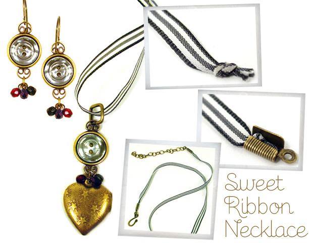Sweet Ribbon Earrings & Necklace