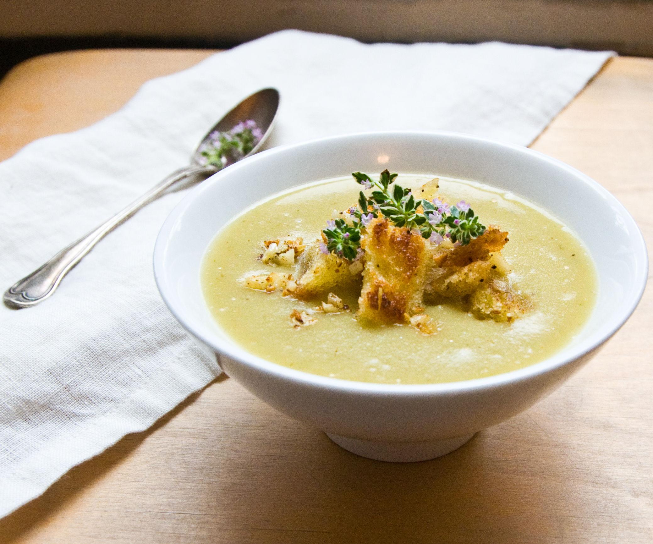 Velvety Potato & Leek Soup W/ Chunky Garlic Croutons