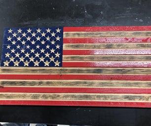 V-雕刻美国国旗