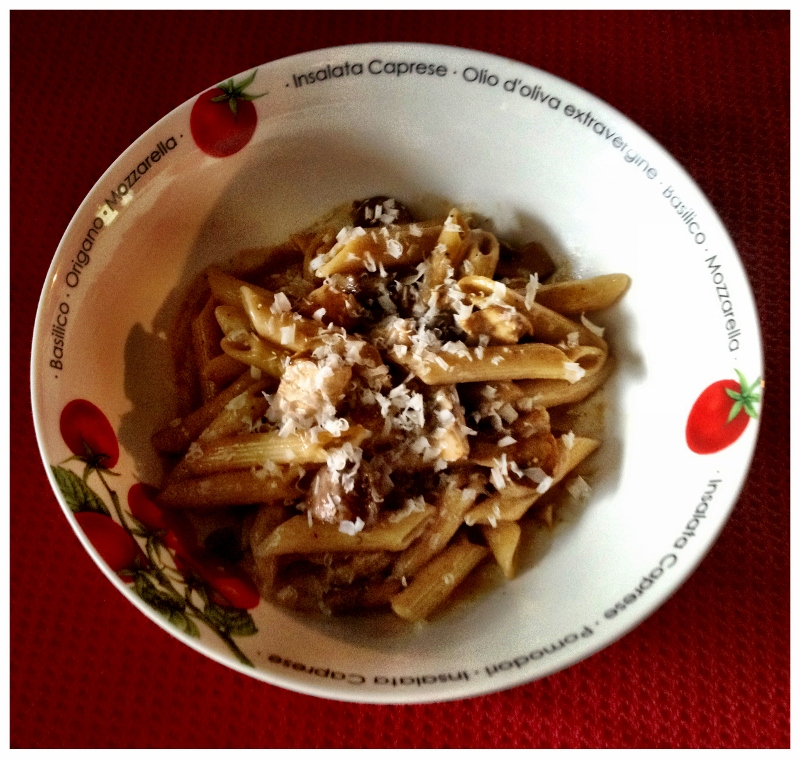 Pasta with Chicken and Mushrooms in Madeira Wine Sauce
