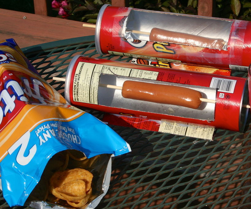 Horno solar para un hot dog