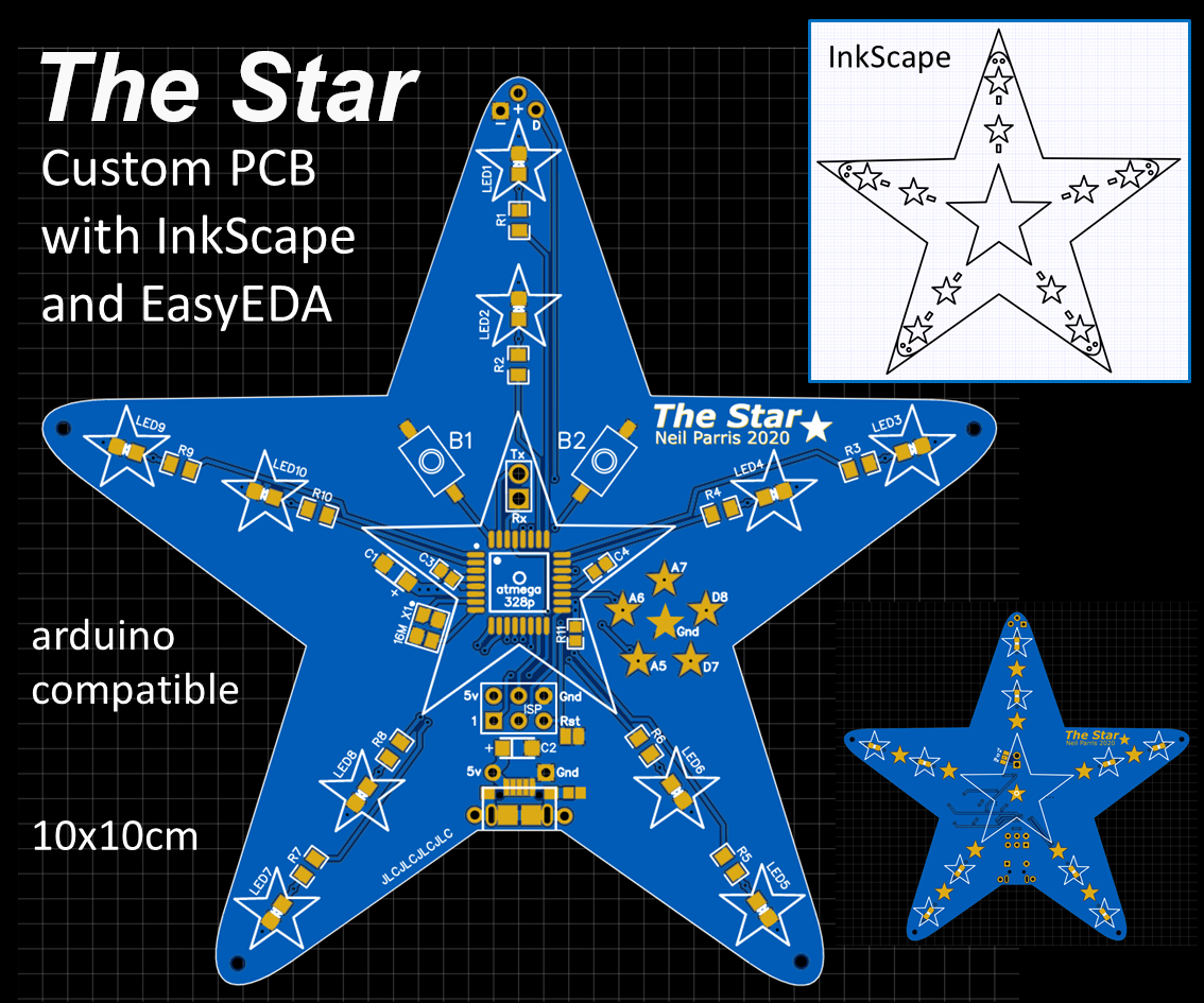 """The Star"" Custom PCB With InkScape and EasyEDA, Arduino Programmable"