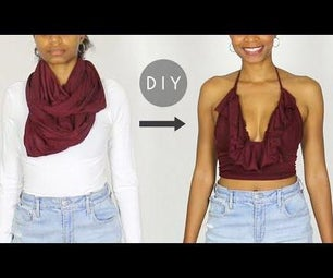 DIY Ruffle Halter Top From a Scarf (Easy Sewing)