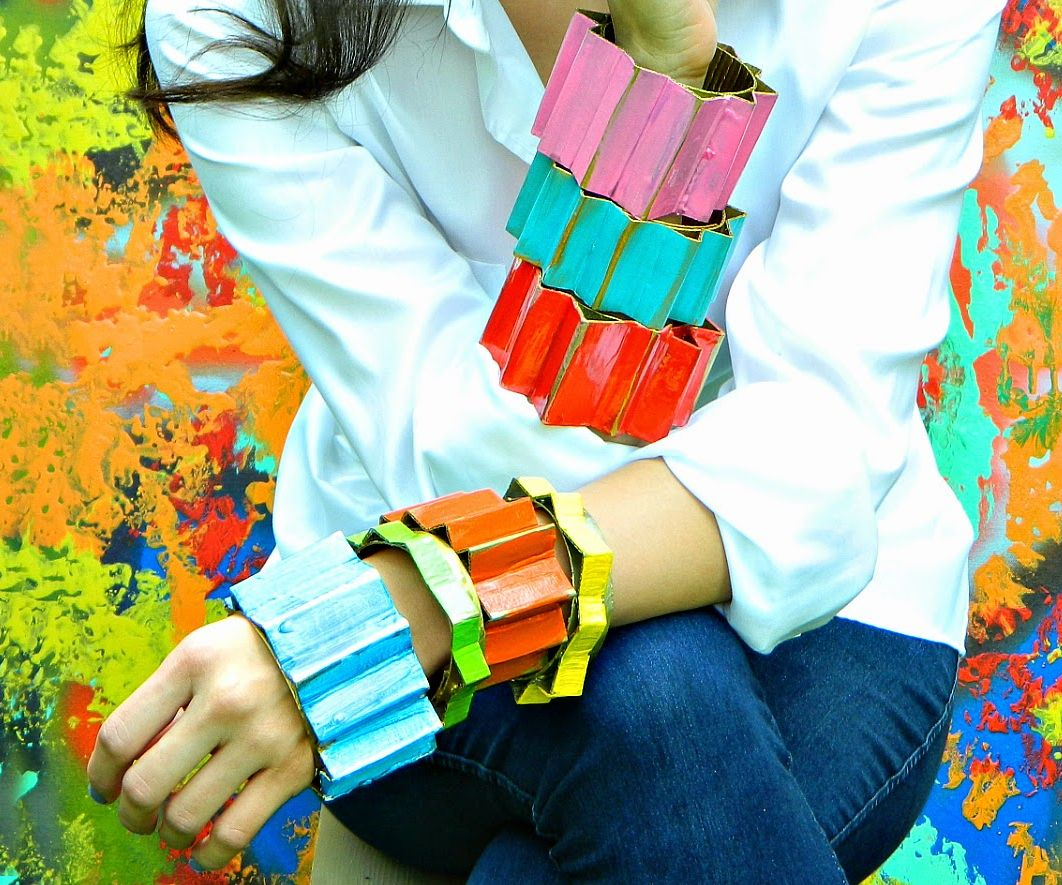 Pleated Bangles (made from cardboard)