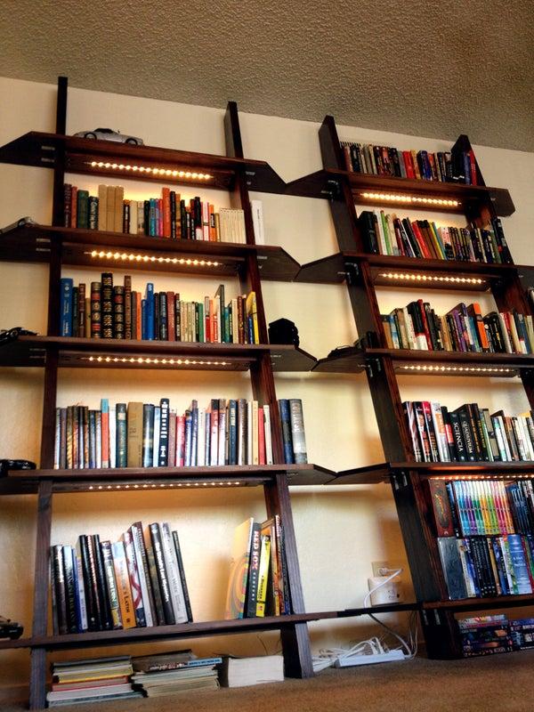 Leaning Bookshelves With LED Lighting
