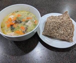 Delicious Whole Wheat Multigrain Bread With Creamy Chicken and Wild Rice Soup