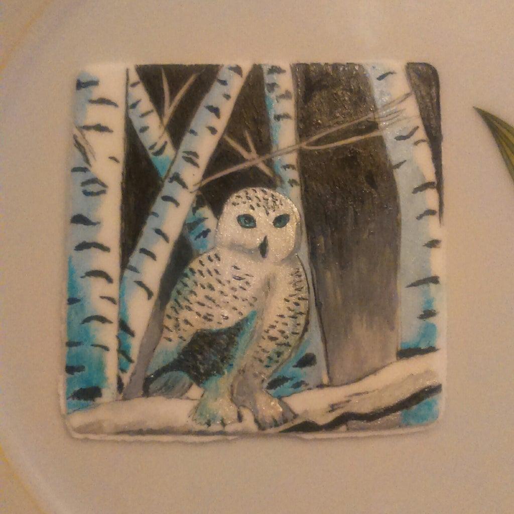 Snowowl Painting on Fondant