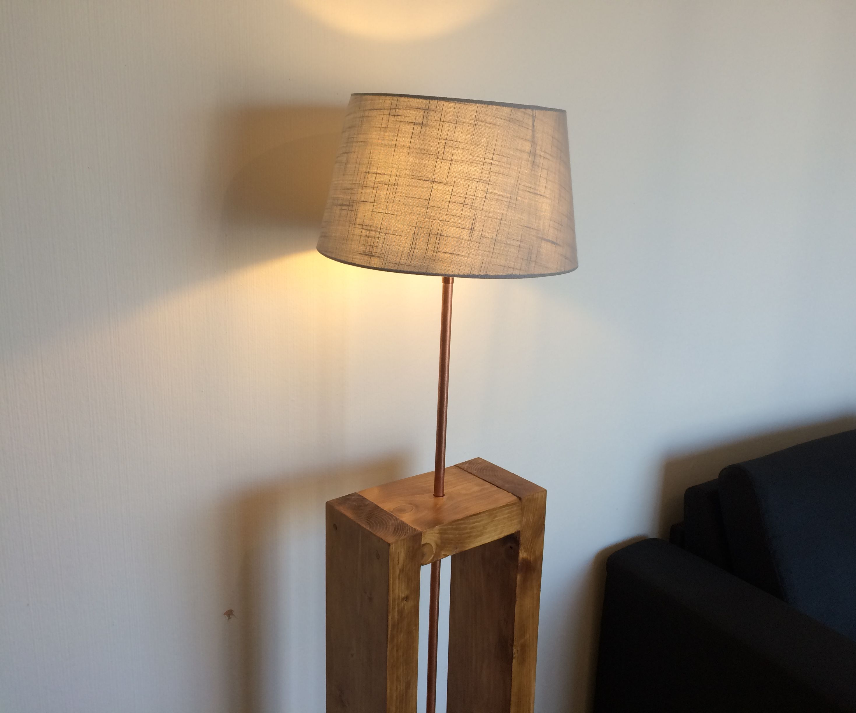 Wood and Copper Industrial Lamp