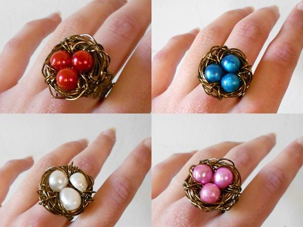 Make Bird nest ring for characteristic girls
