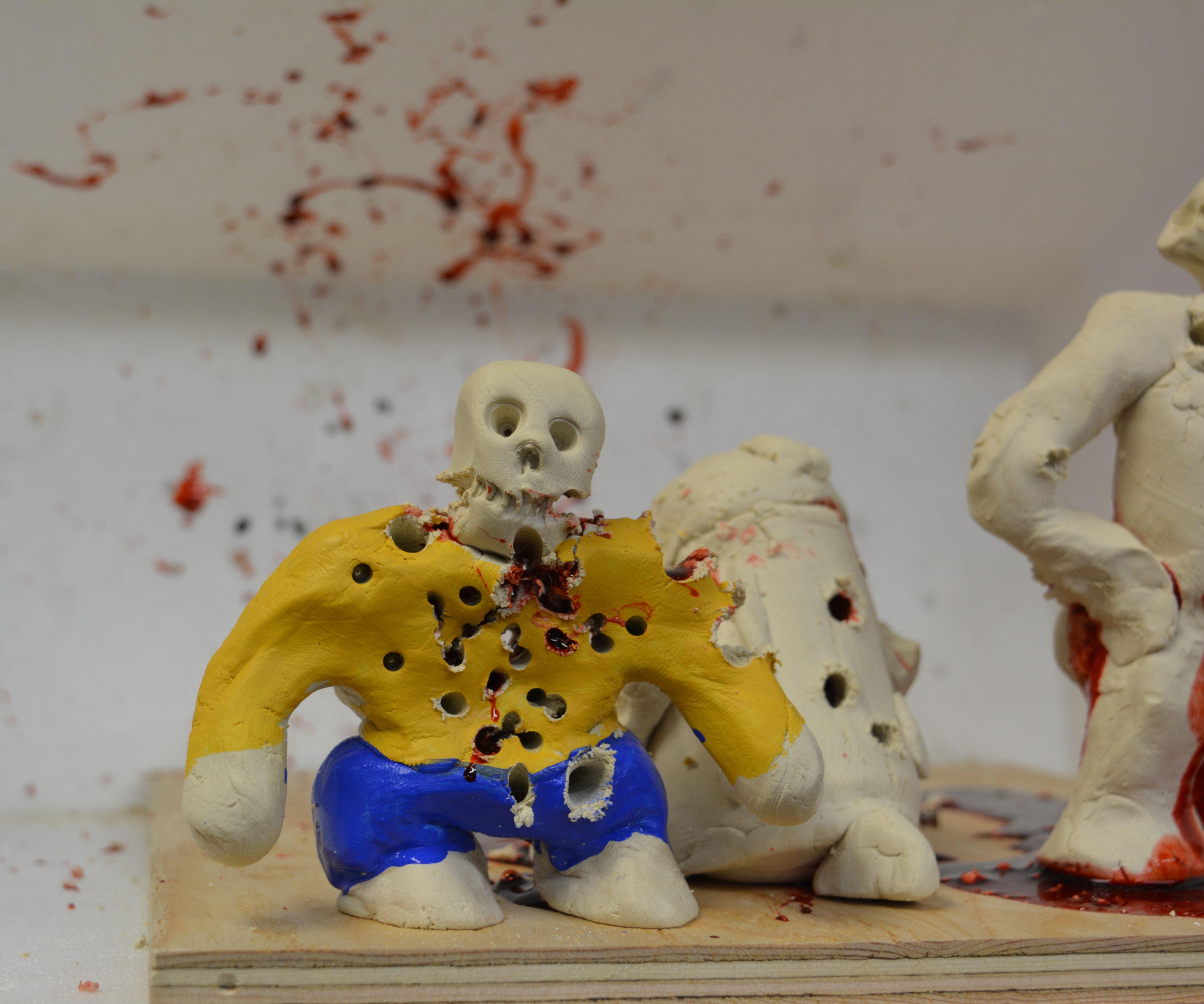 Blood-Pack Clay Mini-Zombie Pellet Gun Targets!!!