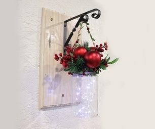 DIY Christmas Decoration - Fairy Lights Bottle Wall Hanging