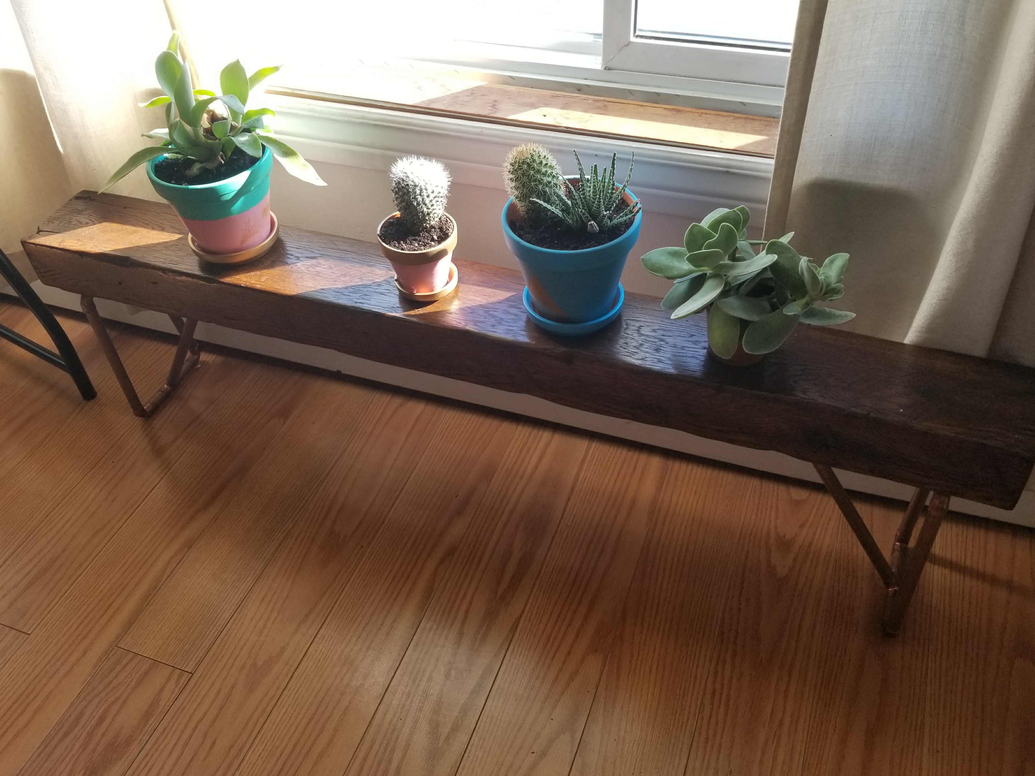 Wood and Copper Bench From an Old Swing Seat