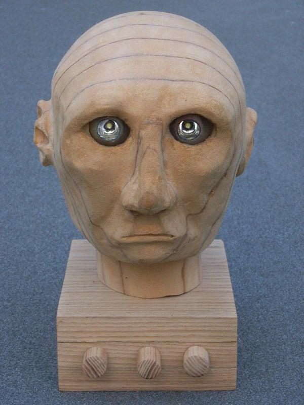 Arduino Controlled Animatronic Wooden Head (reading Lamp)