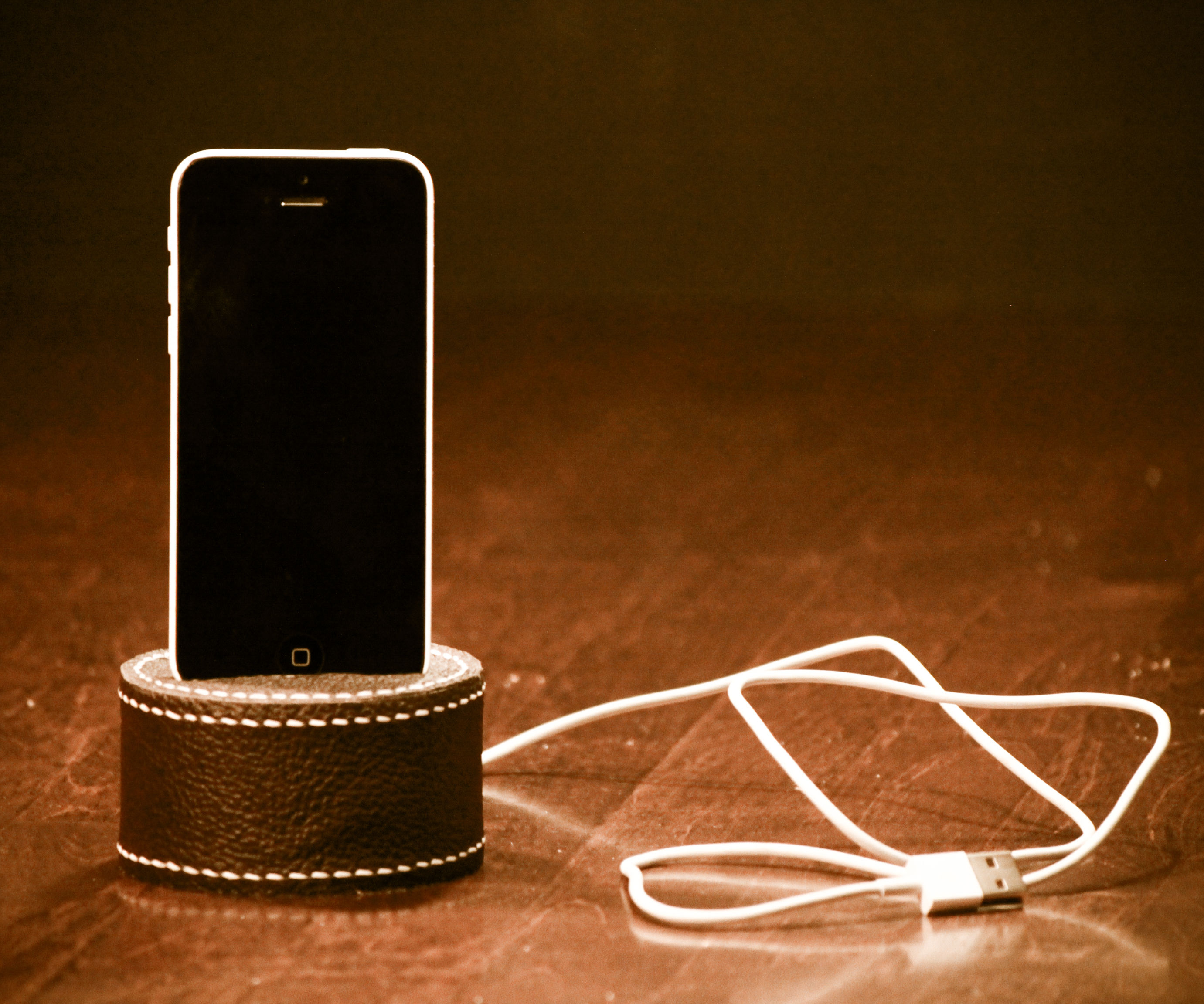 Phone dock - hot glue and leather