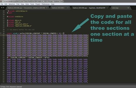 Copy Your Logo Code to Replace the Adafruit Logo Code