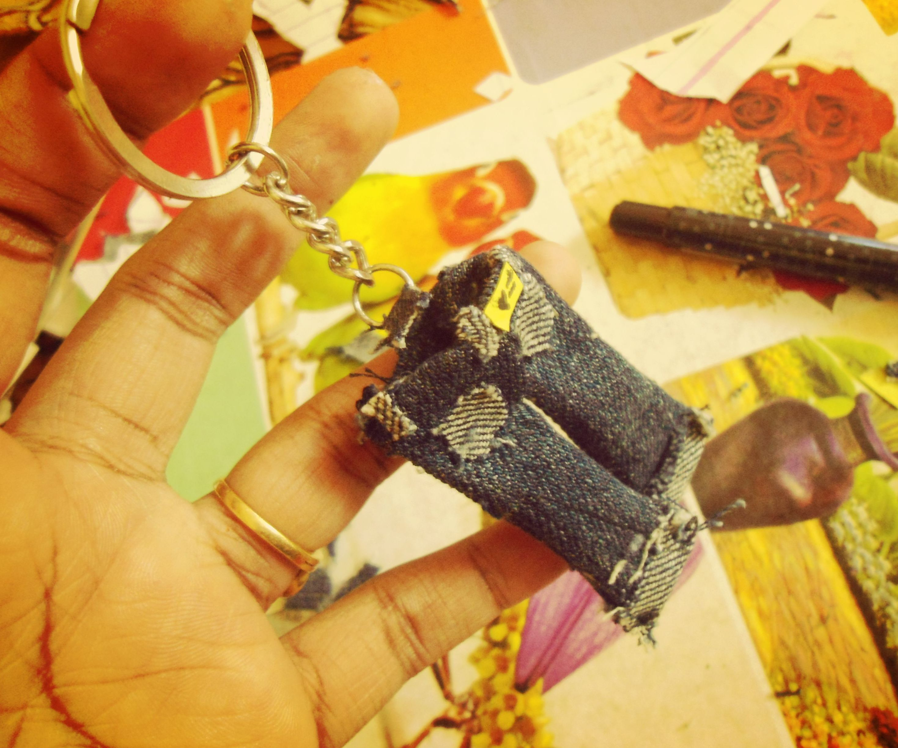 How to make a key chain out of an old denim.