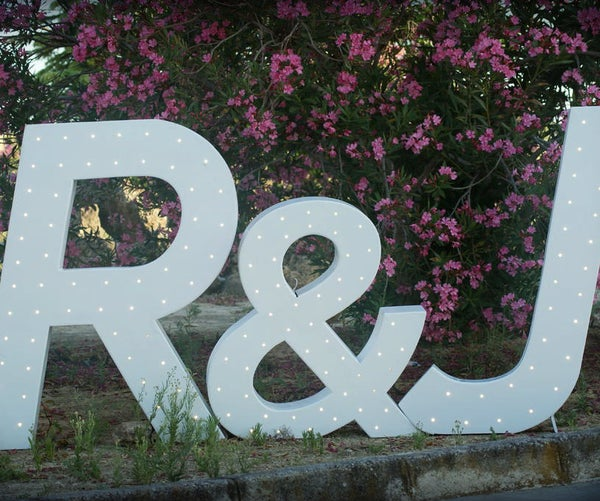 """Iluminated Huge Wooden Letters With """"just Married Detector"""""""