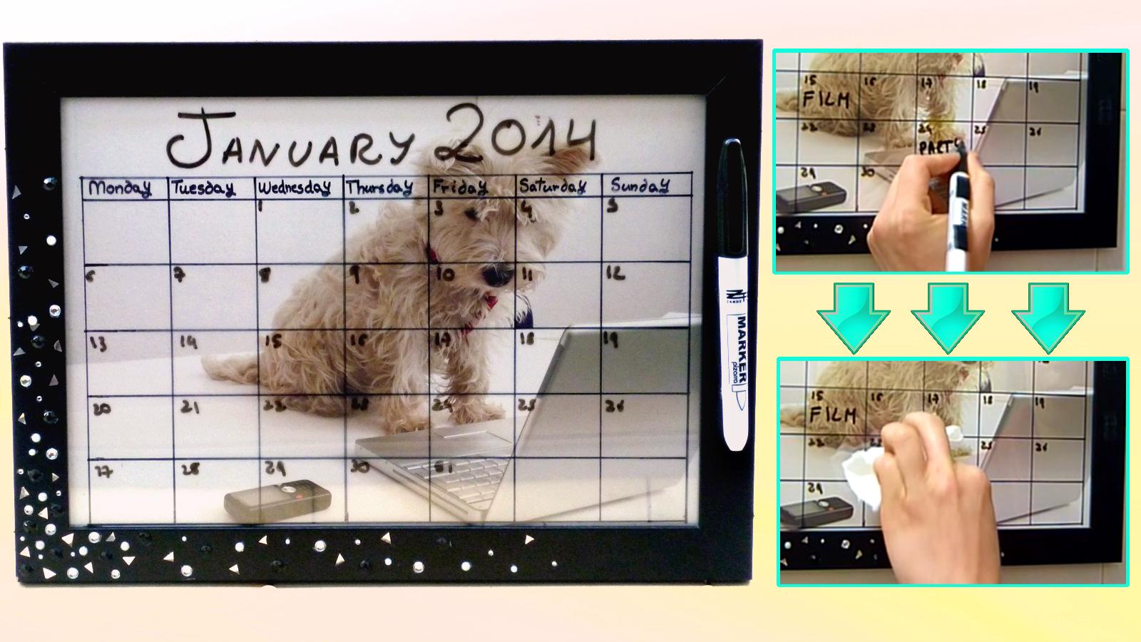 DIY dry erase calendar for the new year! Easy & customizable