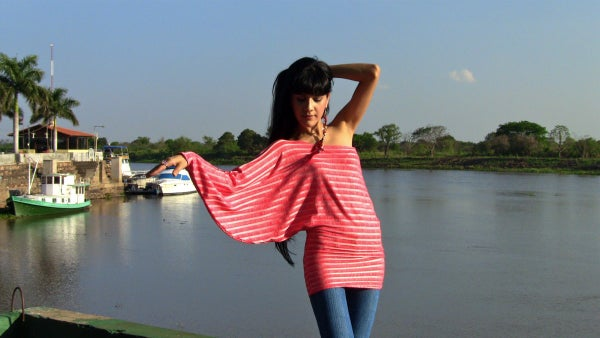Create a Chic One Shoulder Bat Sleeve Top