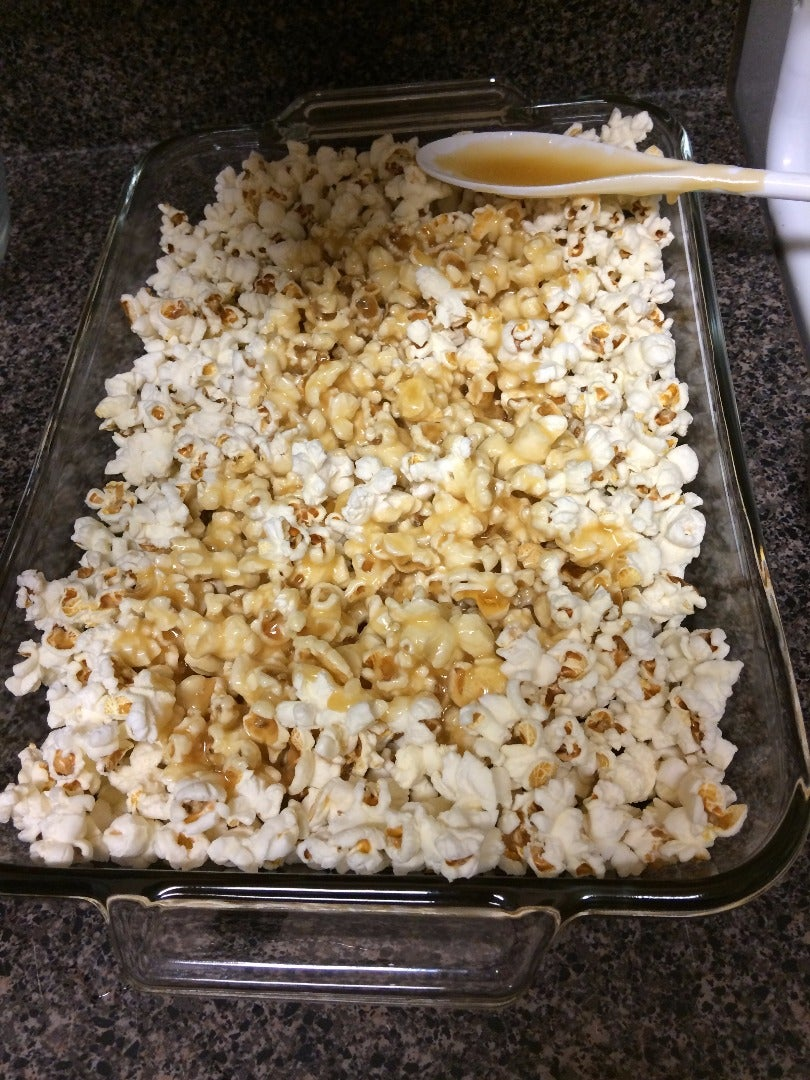Combine and Cook the Caramel and Popcorn