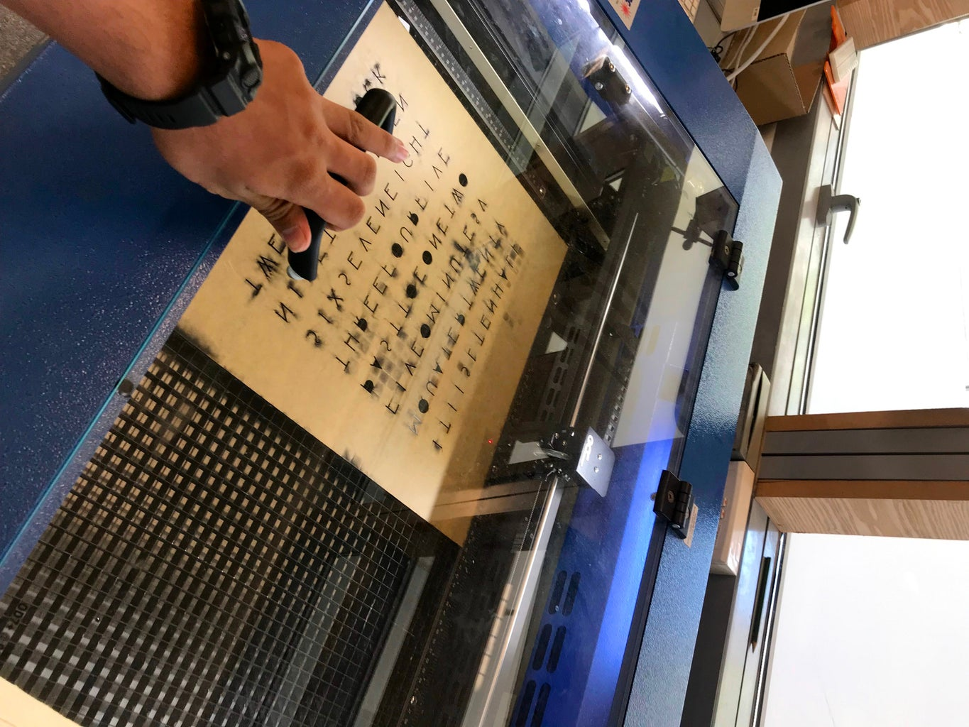 Laser Cutting the Main Front Word Panel