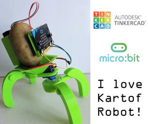 "Tinkercad + Micro:bit Robotics for School: ""I Love Kartof"" Robot!"