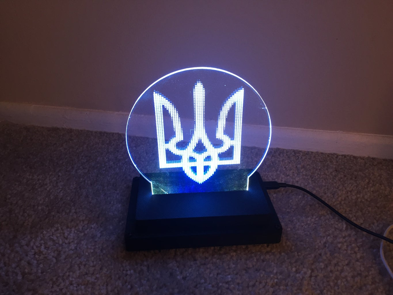 2D Art With Programmable LEDs and Customizable Base and Logo