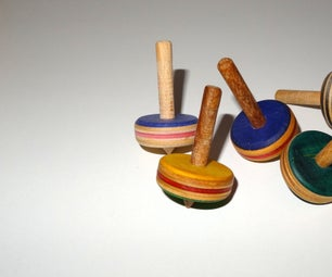 Wooden Spinning Tops Out of Recycled Skateboards