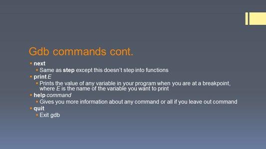 Using GDB Comands
