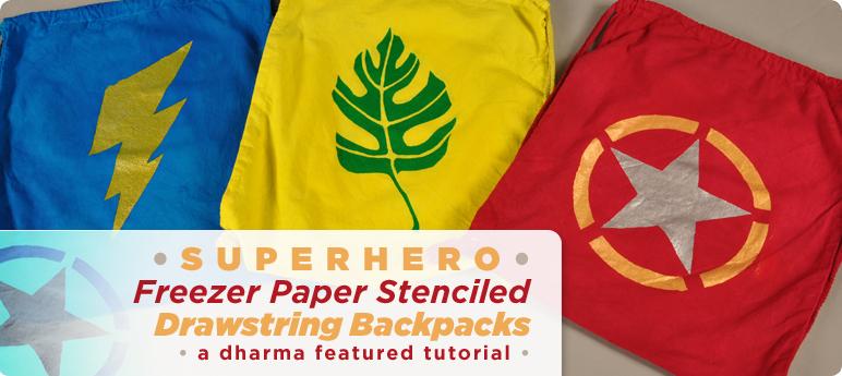 Superhero Freezer Paper Stenciled Drawstring Backpacks