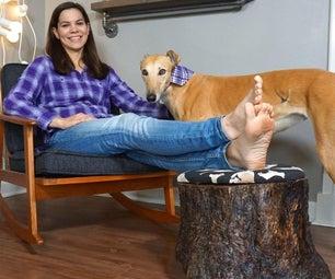 DIY Stump Foot Rest With Hidden Compartment