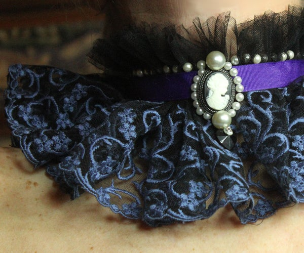 Gothic Jewelled, Tulle and Lace Choker