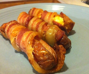 Cheesy Bacon Wrapped Hot Dogs!