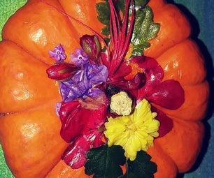 Decoupage Real Flower Pumpkin